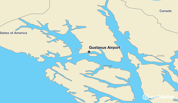Gustavus Airport location on a map