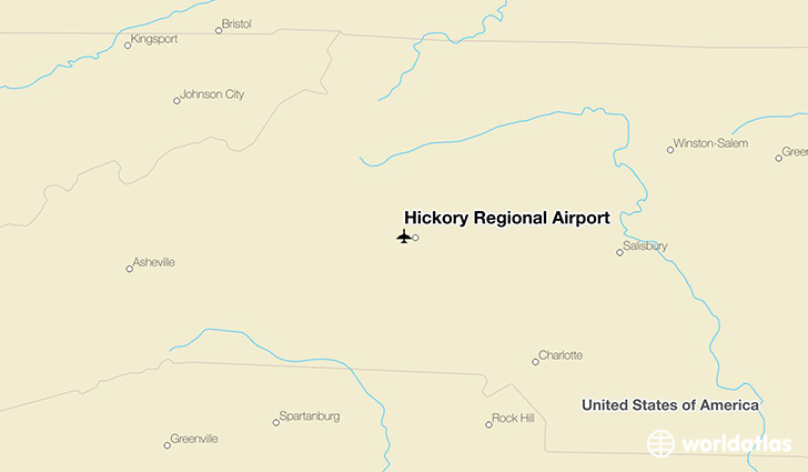 Hickory Regional Airport location on a map