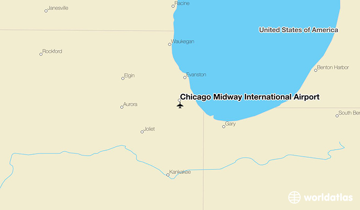 Chicago Midway International Airport location on a map