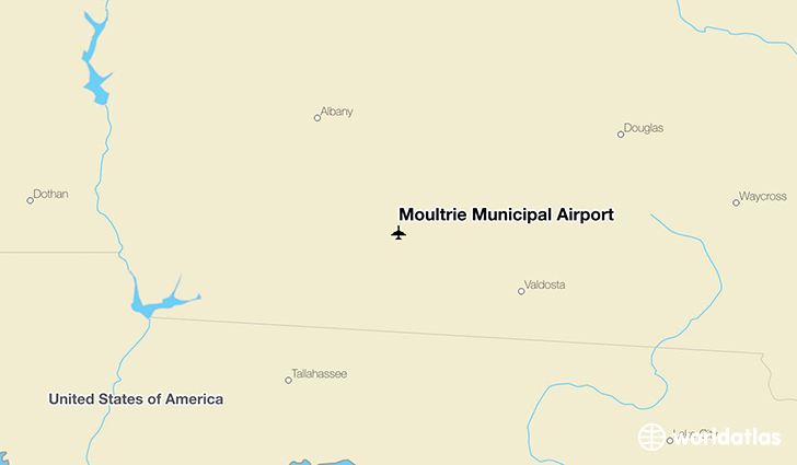 Moultrie Municipal Airport location on a map