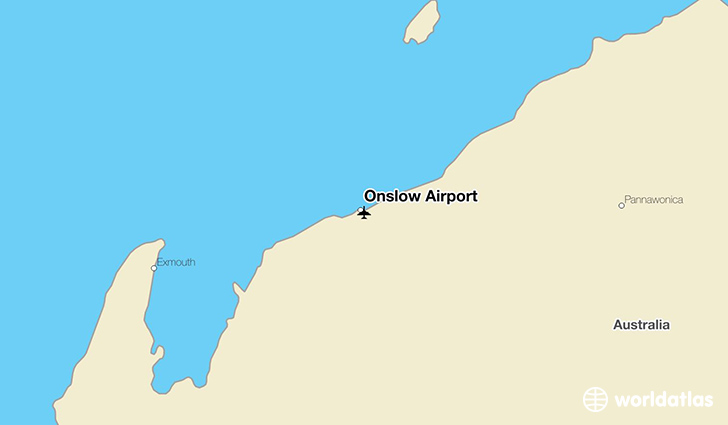 Onslow Airport location on a map