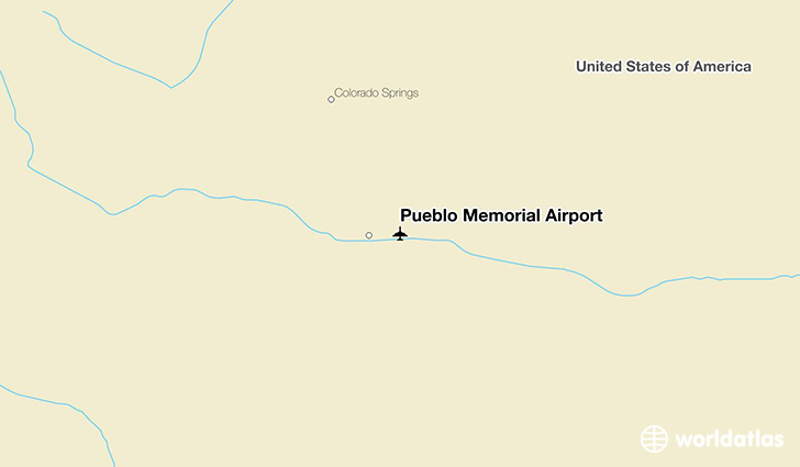 Pueblo Memorial Airport location on a map