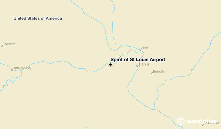 Spirit of St Louis Airport location on a map