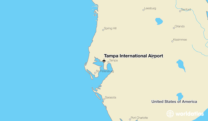 Tampa International Airport location on a map