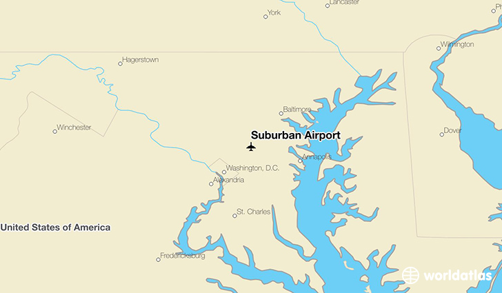 Suburban Airport location on a map