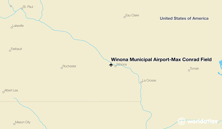 Winona Municipal Airport-Max Conrad Field location on a map