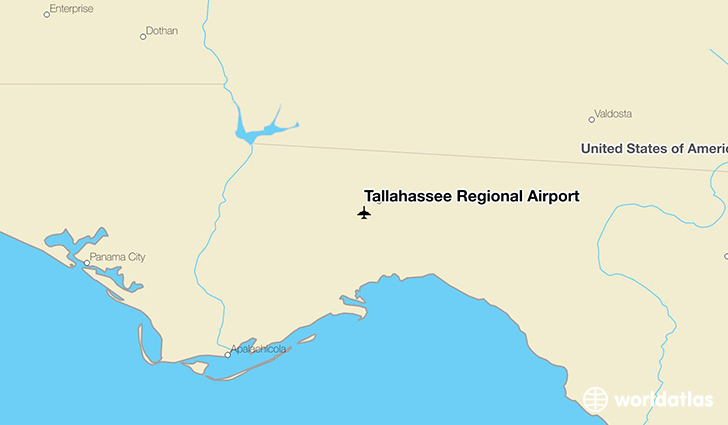 Tallahassee Regional Airport location on a map