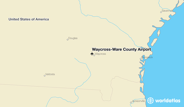 Waycross (GA) United States  city photos : Location of Waycross Ware County Airport on a map.