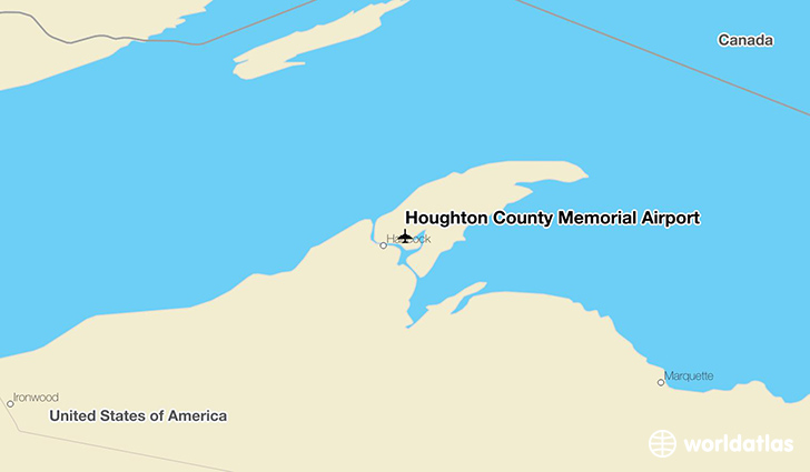Houghton County Memorial Airport location on a map