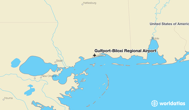 Gulfport-Biloxi Regional Airport location on a map