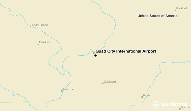 Quad City International Airport location on a map