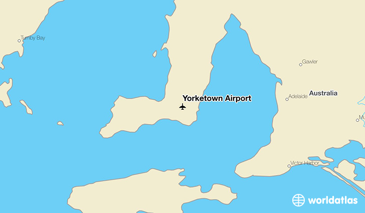 Yorketown Airport location on a map