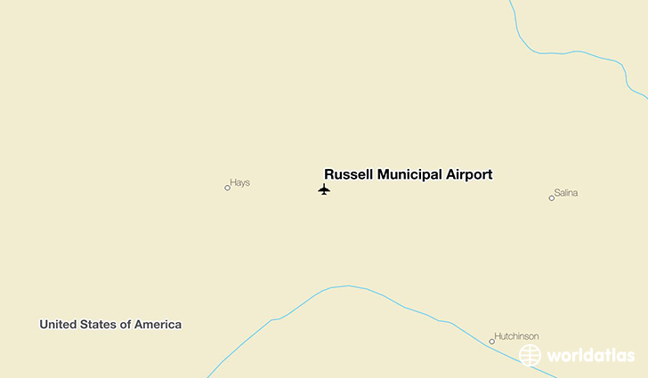 Russell Municipal Airport location on a map