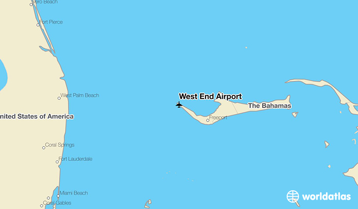 West End Airport location on a map