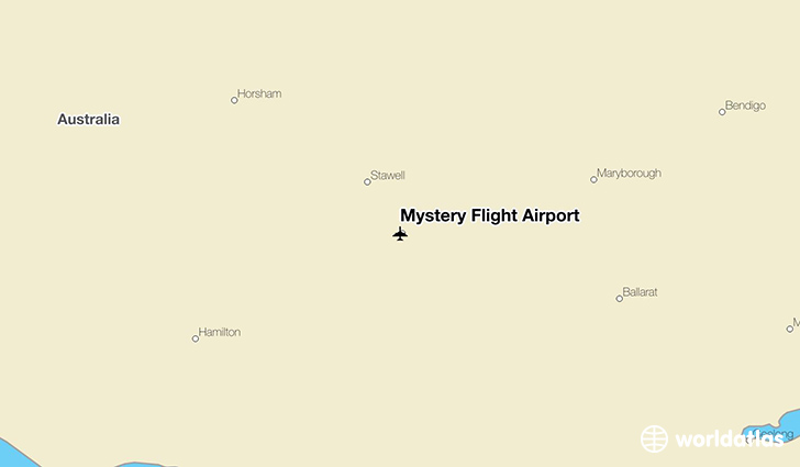 Mystery Flight Airport location on a map