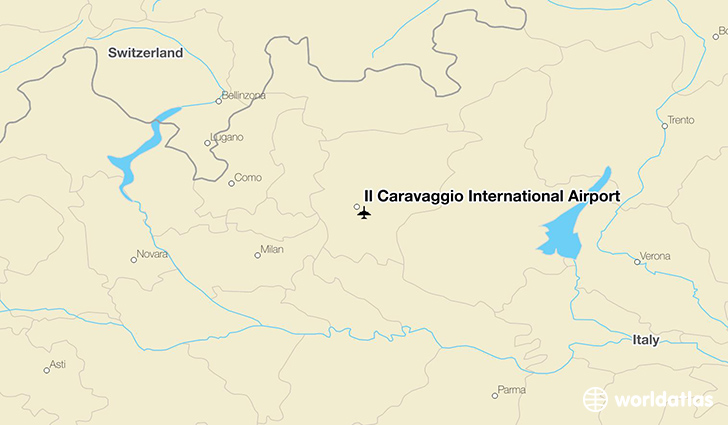 Il Caravaggio International Airport location on a map