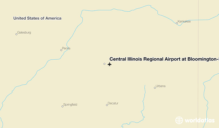 Central Illinois Regional Airport at Bloomington-Normal location on a map
