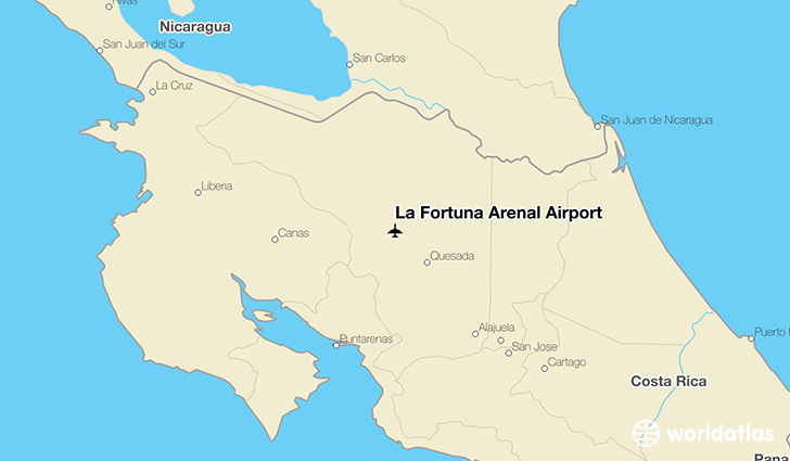 La Fortuna Arenal Airport location on a map