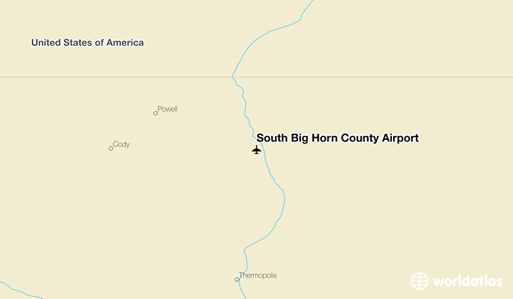 South Big Horn County Airport location on a map