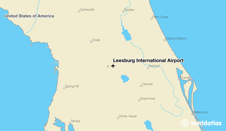 Leesburg International Airport location on a map