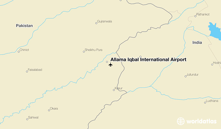 Allama Iqbal International Airport location on a map