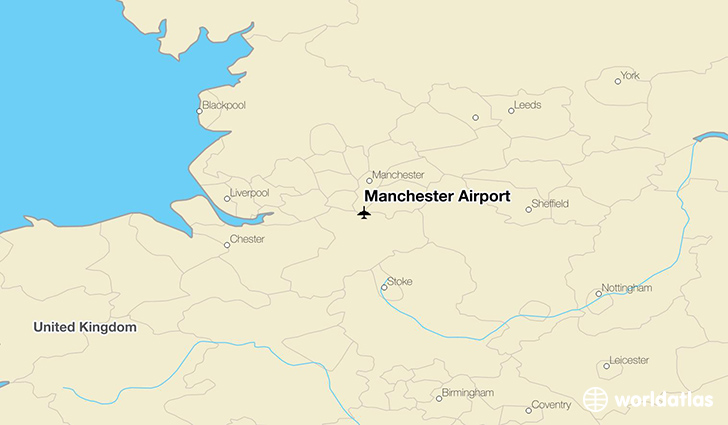Manchester Airport location on a map
