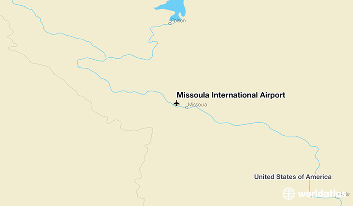 Missoula International Airport location on a map