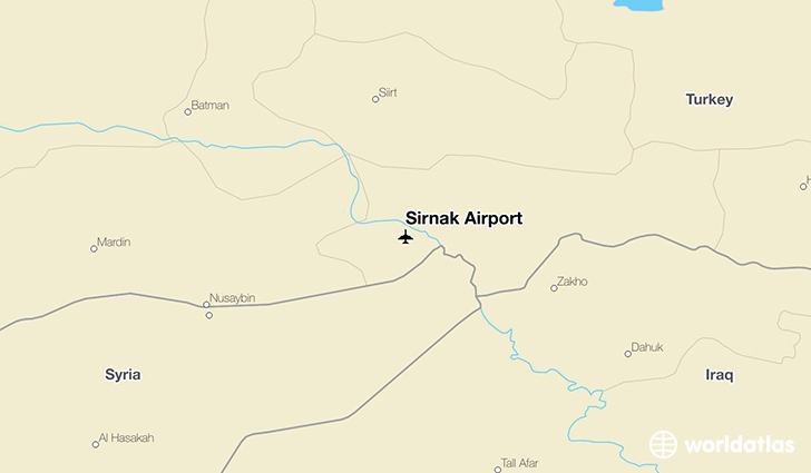Şırnak Airport location on a map