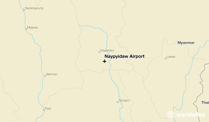 Naypyidaw Airport location on a map