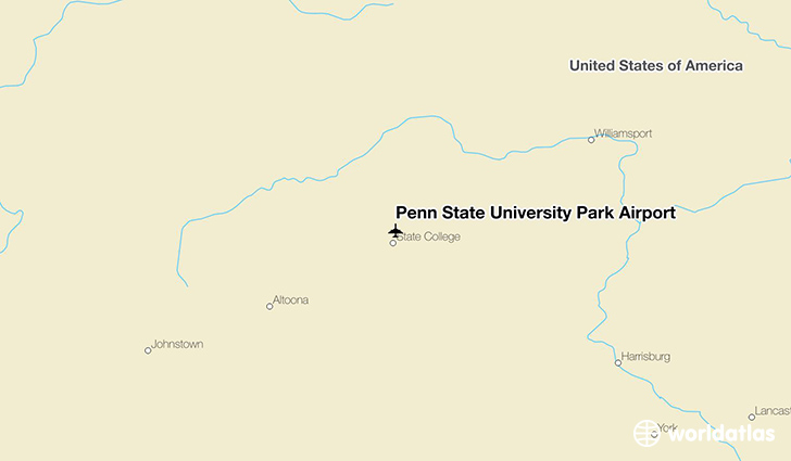 Penn State University Park Airport location on a map