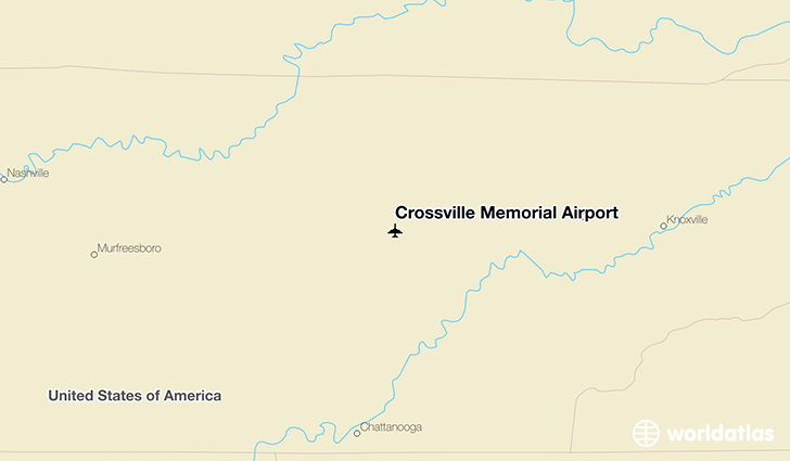 Crossville Memorial Airport location on a map