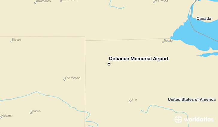 Defiance Memorial Airport location on a map