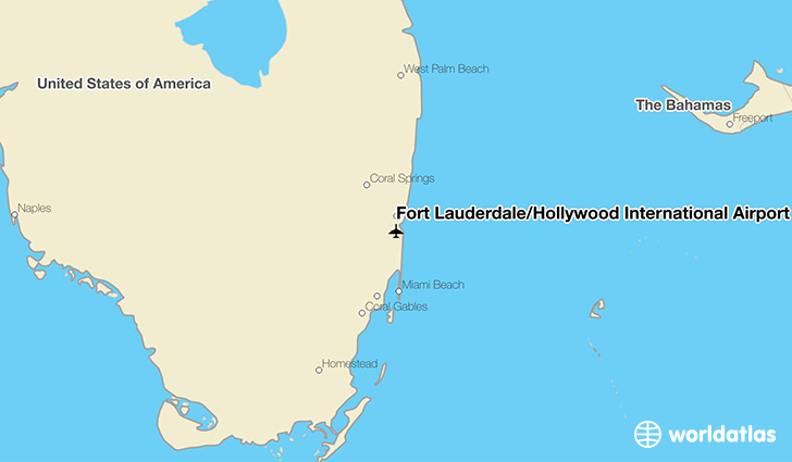 Fort Lauderdale/Hollywood International Airport location on a map