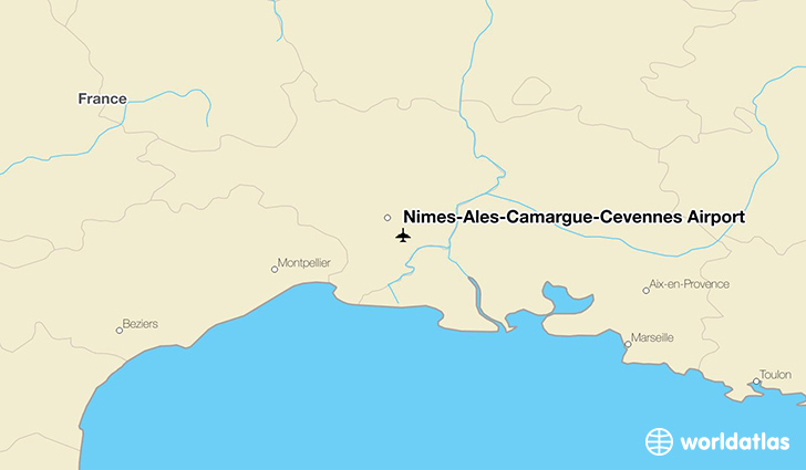 Nîmes-Alès-Camargue-Cévennes Airport location on a map