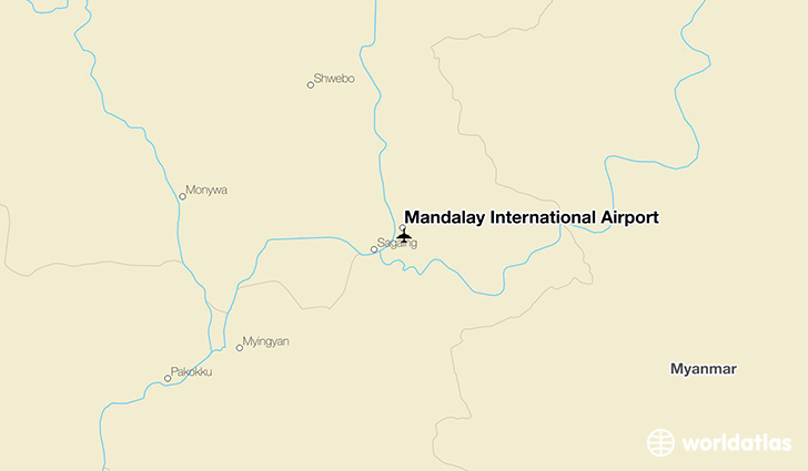 Mandalay International Airport location on a map