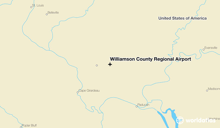 Williamson County Regional Airport location on a map