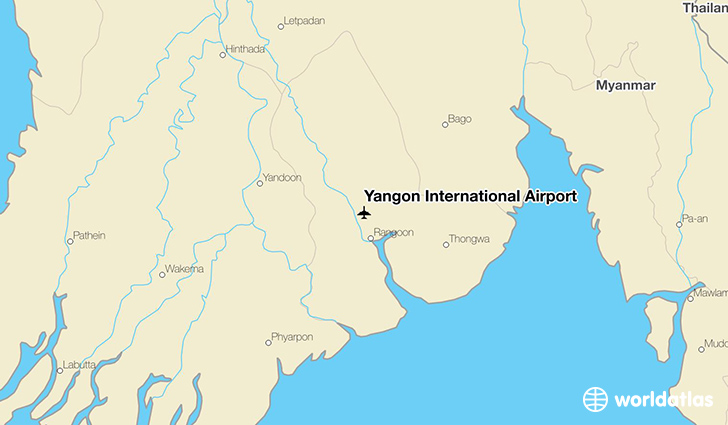 Yangon International Airport location on a map