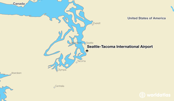 Seattle-Tacoma International Airport location on a map