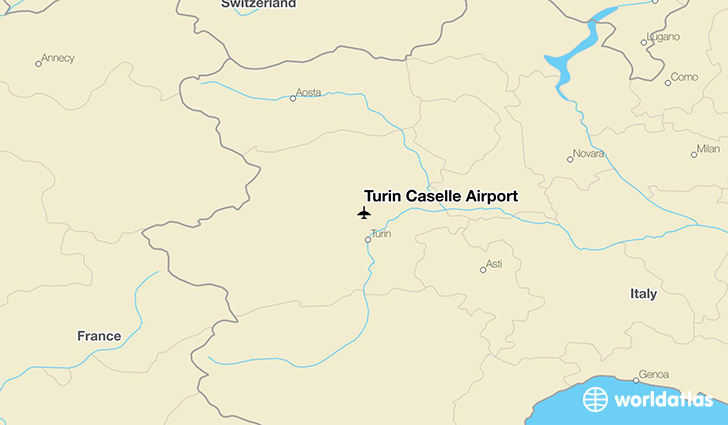 Turin Caselle Airport location on a map