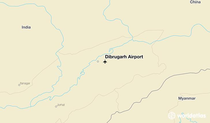 Dibrugarh Airport location on a map