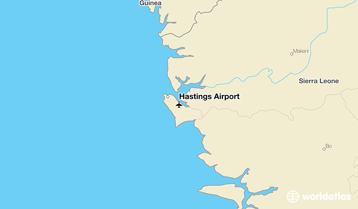 Hastings Airport location on a map