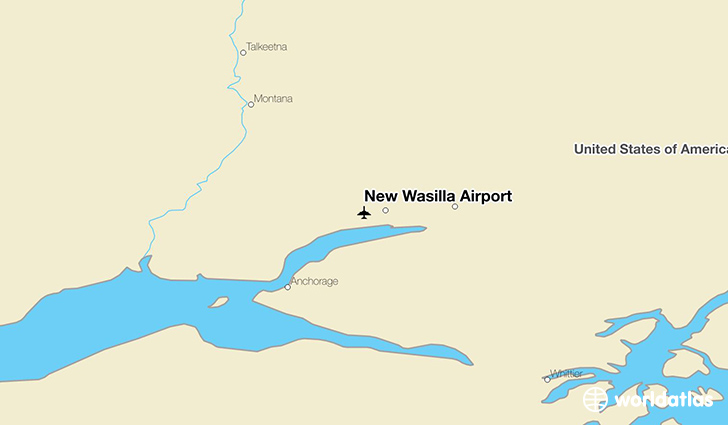 New Wasilla Airport location on a map