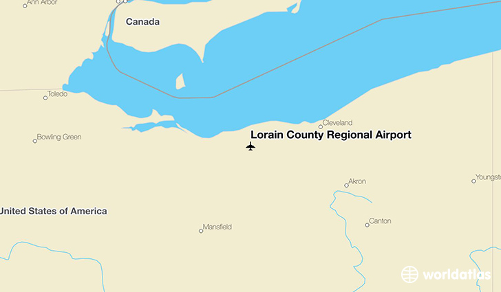 Lorain County Regional Airport location on a map