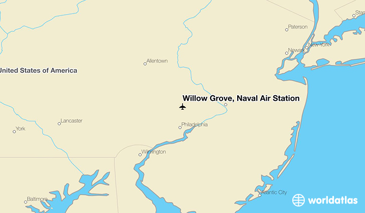 Willow Grove, Naval Air Station location on a map