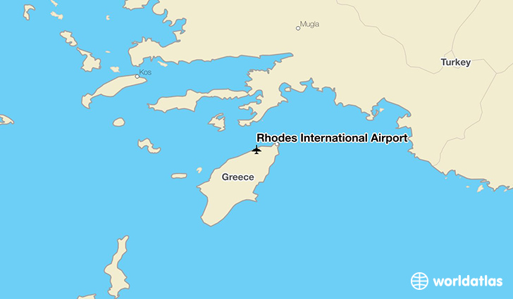 Rhodes International Airport location on a map