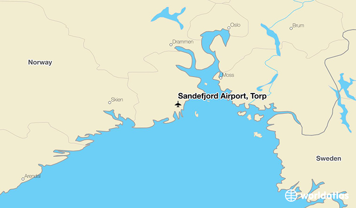 Sandefjord Airport, Torp location on a map
