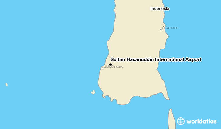 Sultan Hasanuddin International Airport location on a map