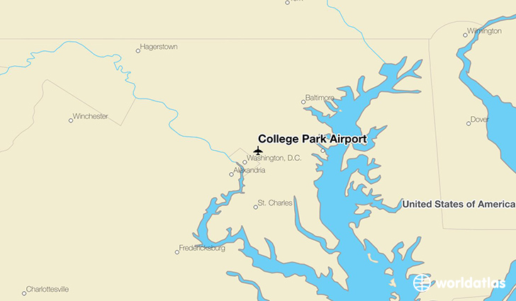 College Park Airport location on a map