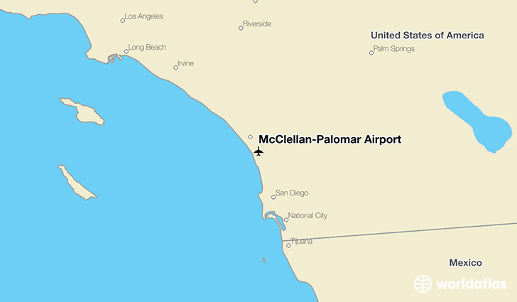 McClellan–Palomar Airport location on a map