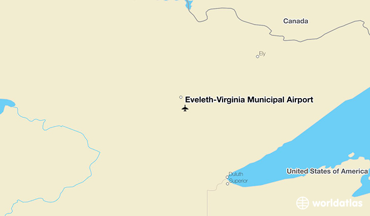Eveleth-Virginia Municipal Airport location on a map